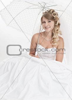 beautiful woman wearing luxurious wedding dress. Bride