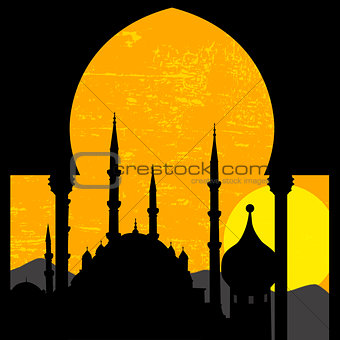 Oriental sunset with mosque