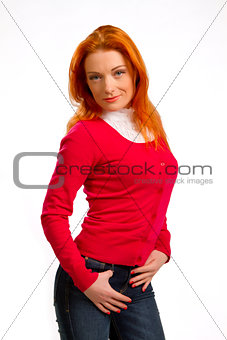 beautiful red-haired girl in a pink jacket