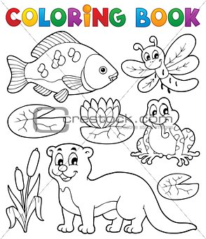 Coloring book river fauna image 1