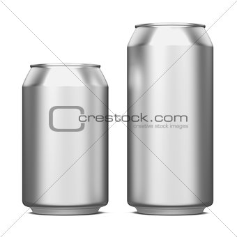 Aluminum Cans Isolated on White.