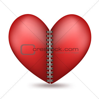heart shaped in two halfs with a binder