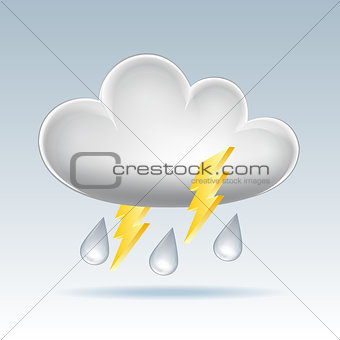 Cloud icon. Rain and lightning.