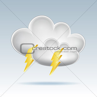 Cloud icon. Lightning.