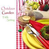 Outdoor garden table setting.
