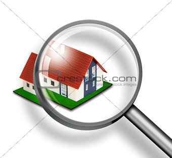 House through magnifying glass on white background