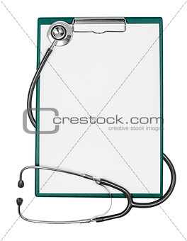 medical clipboard with blank paper sheet and stethoscope