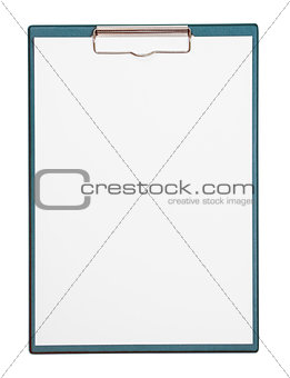 green clipboard and paper sheet with included clipping path