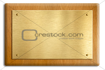 Wooden plaque with gold or brass plate isolated on white. Clippi