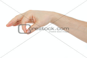 male hand holding some thing object isolated on white