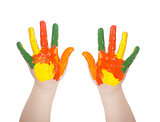 Kid&#39;s hands painted in bright colors isolated on white