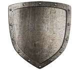 Set of old metal medieval shields isolated on white