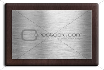 Wooden plaque with silver plate isolated on white. Clipping path