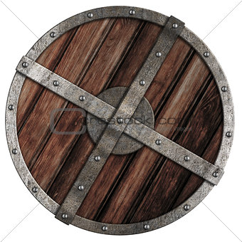 Old viking wooden shield with metal border isolated on white