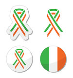 Irish ribbon flag labels - St Patricks Day celebration