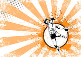 handball retro poster background