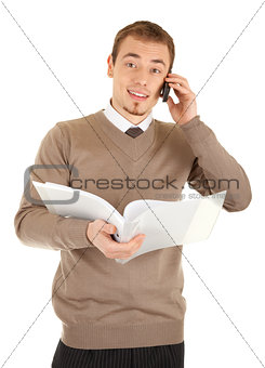 Manager with document folder calling by the phone