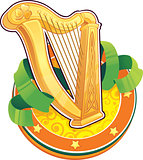 St.Patrick&#39;s Day symbol. The Irish Harp