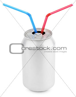 Aluminum soda can with straws on white