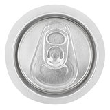 Closeup of aluminum soda can on white