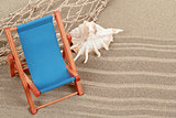 Still Life with seashell and sun lounger