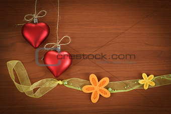 wooden board for valentine message with flowers