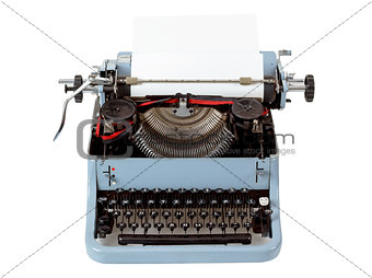 retro uncovered blue typewriter