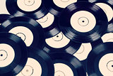 black vinyl records vintage toned