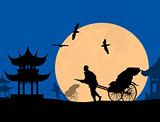 Chinese rickshaw in old Beijing