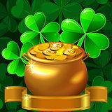 vector Patrick card with clover and gold pot