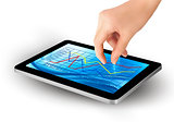 Fingers touching screen of touchpad with icons. Vector.