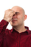 Worried man having headache