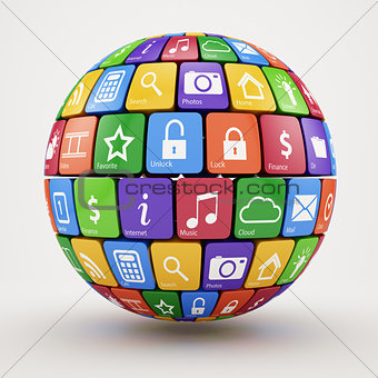 Colorful social media sphere