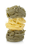 Fettuccine nest colored pasta