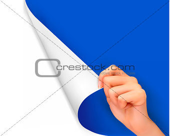 Blank sheet of paper with hand. Vector