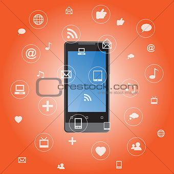 Smartphone with media application icons