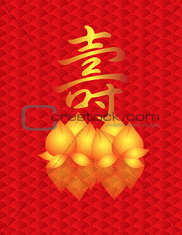 Longevity Shou Golden Peach on Fish Scale Background