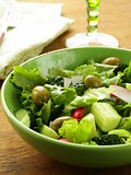 salad with tomato cucumbers and  green olive