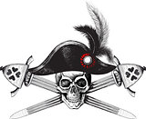 Pirate symbol of a skull in the captain's hat and two crossed swords