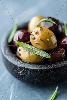 Marinated olives with rosemary