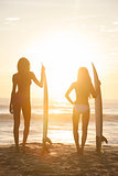 Woman Bikini Surfer Girls &amp; Surfboards Sunset Beach