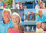 Happy Retired Senior Couple Montage Romantic Vacation