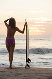 Woman Bikini Surfer &amp; Surfboard Sunset Beach