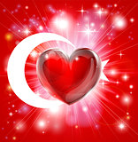 Love Turkey flag heart background