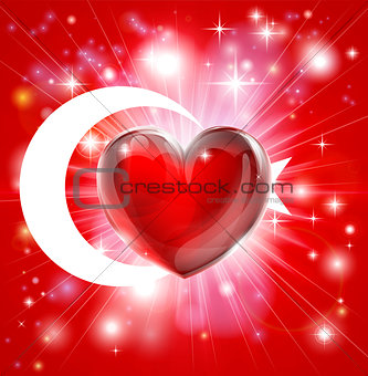 Love Turkey flag heart background