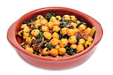 spanish espinacas con garbanzos, spinach with chickpeas, served 
