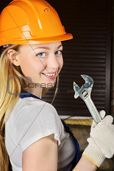 Beautiful Woman With Wrench