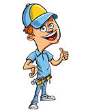 Cartoon handyman giving a thumbs up