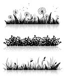 Grass Banner Silhouette Set