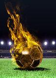 fiery soccer bal